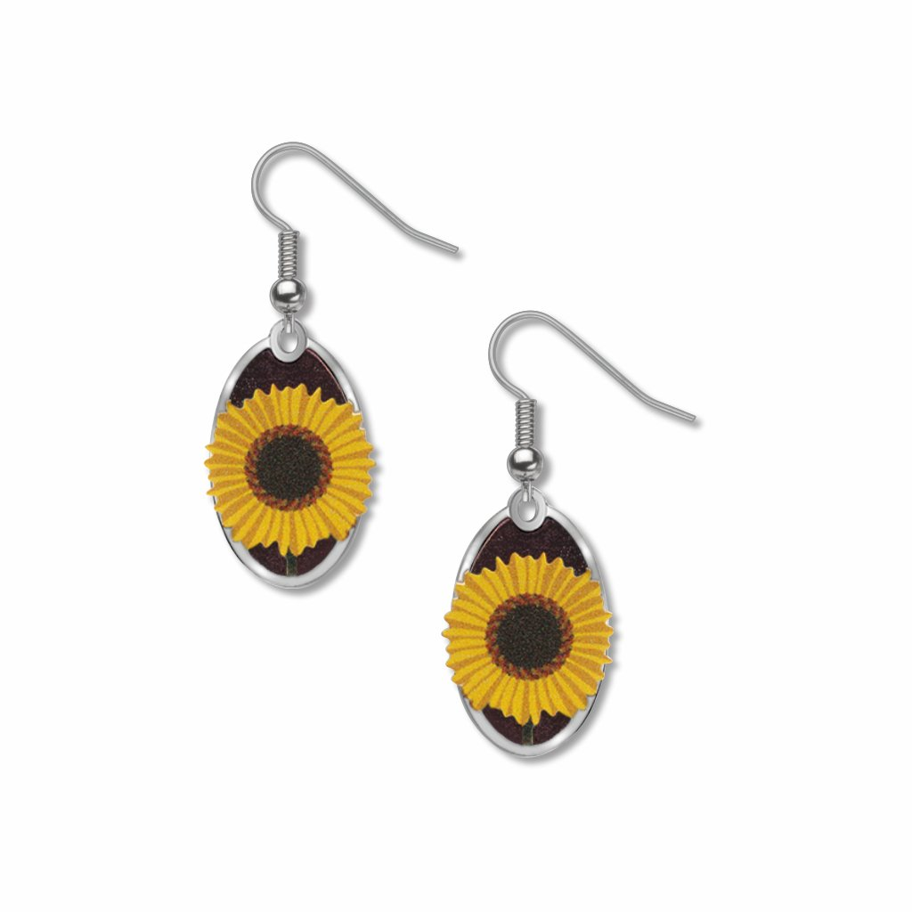 common-sunflower-giclee-print-purple-accent-earrings-photo
