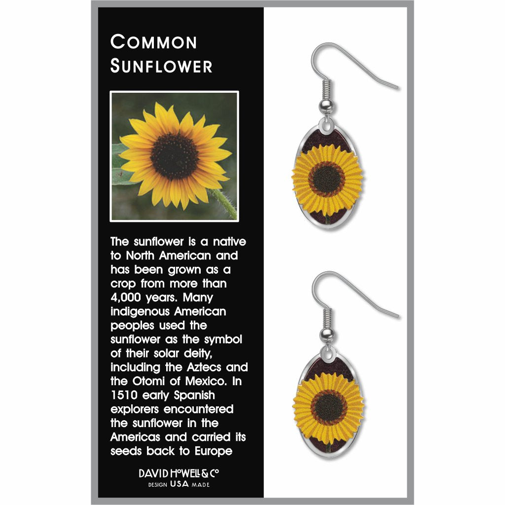 common-sunflower-giclee-print-purple-accent-earrings-photo-2