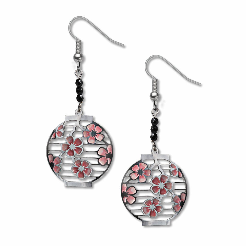 japanese-cherry-blossom-lanterns-black-beads-pale-pink-enamel-bright-pink-enamel-earrings-photo