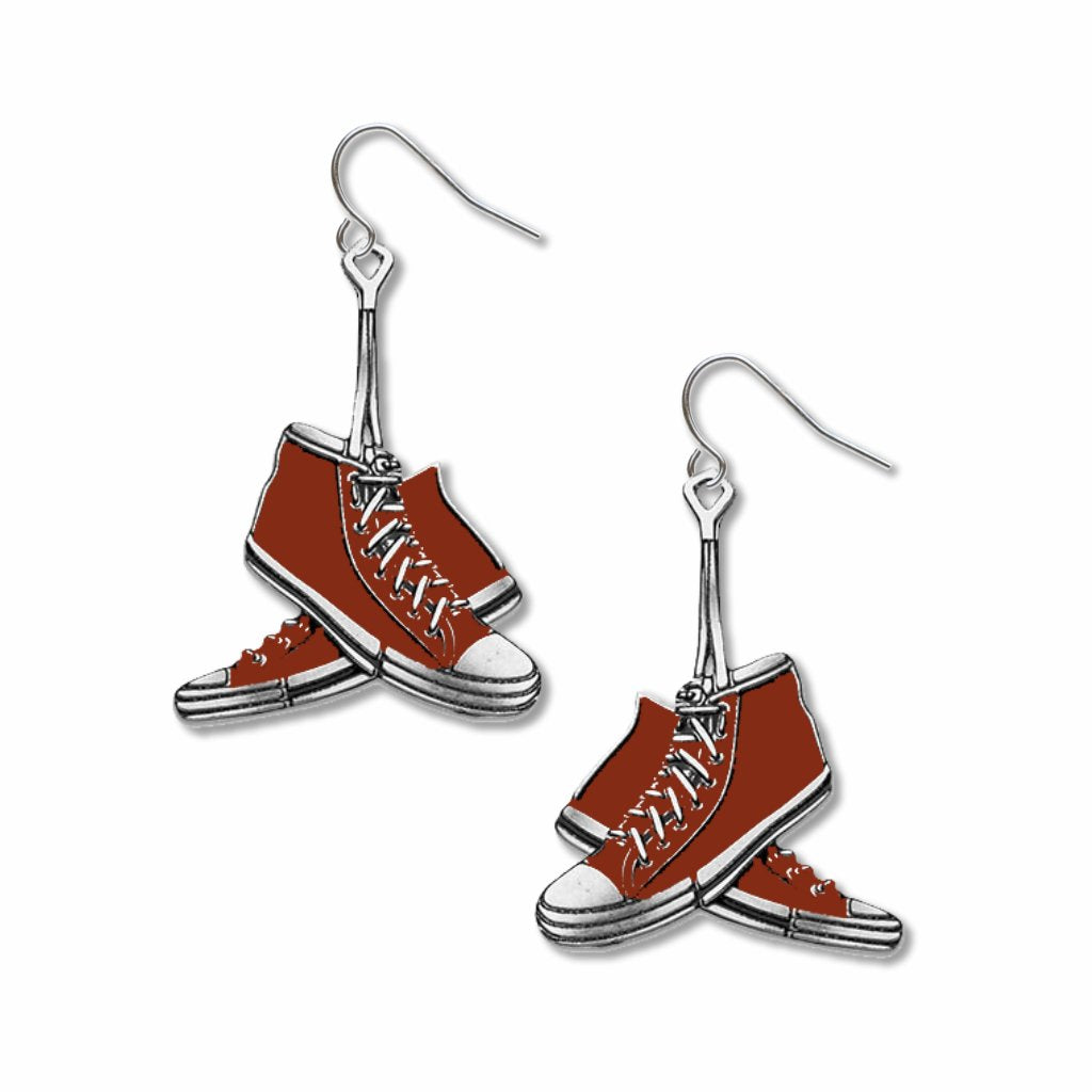 red-sneakers-giclee-print-earrings-photo