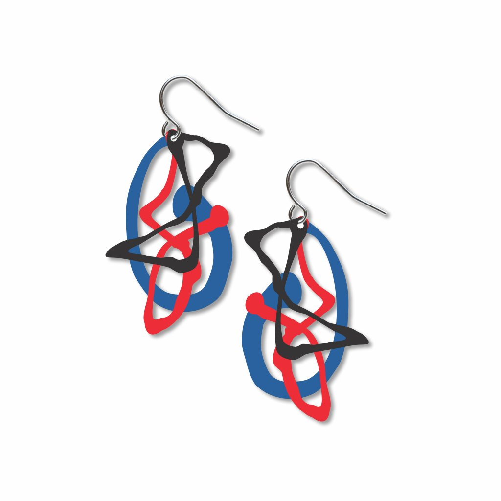 pollock's-ghosts™-red,-blue-and-black-accents-earrings-photo