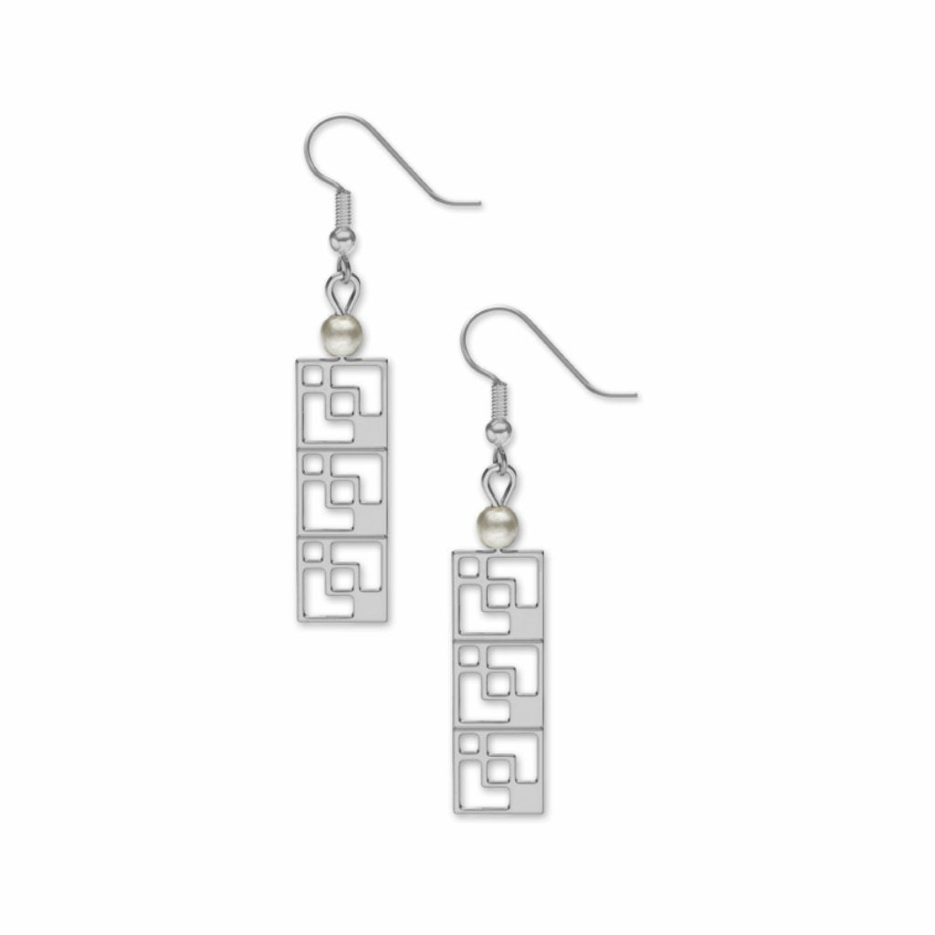 modernist-brick-screen-white-faux-pearls-earrings-photo