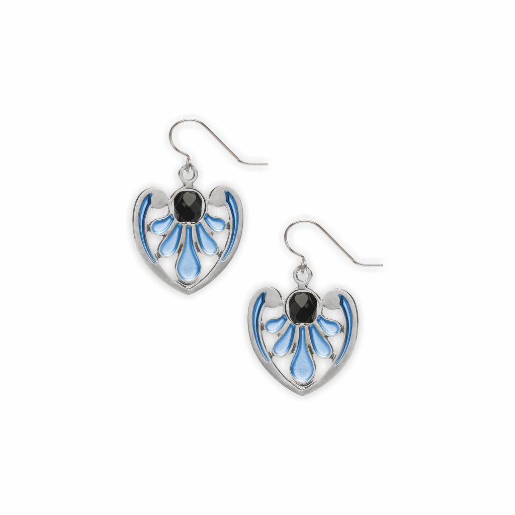 acanthus-detail-black-bead-royal-blue-enamel-earrings-photo