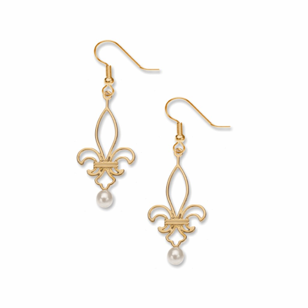 fleur-de-lis-creme-faux-pearl-earrings-photo