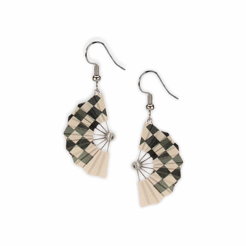checkered-fans-giclee-print-earrings-photo