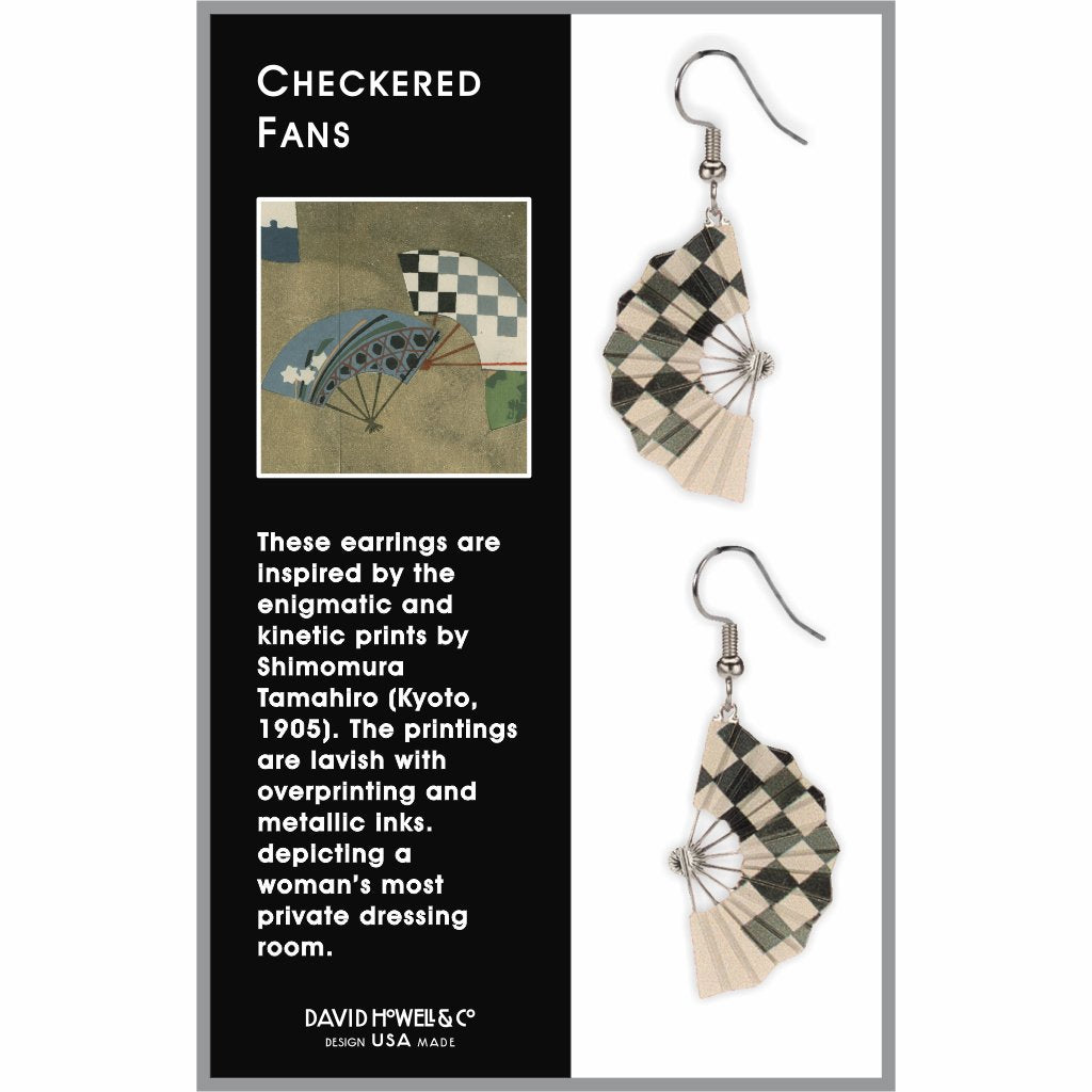 checkered-fans-giclee-print-earrings-photo-2