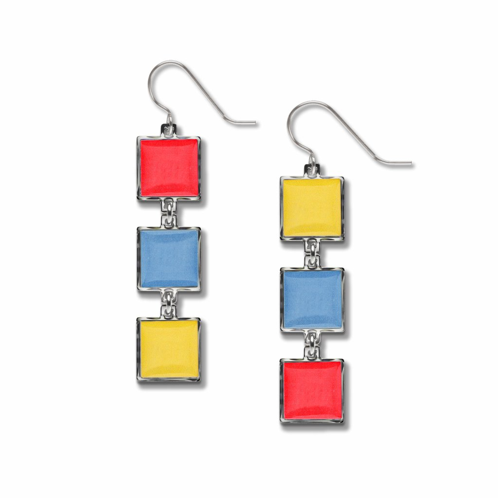 bauhaus-color-wheel-red-accent-blue-accent-yellow-accent-domed-earrings-photo