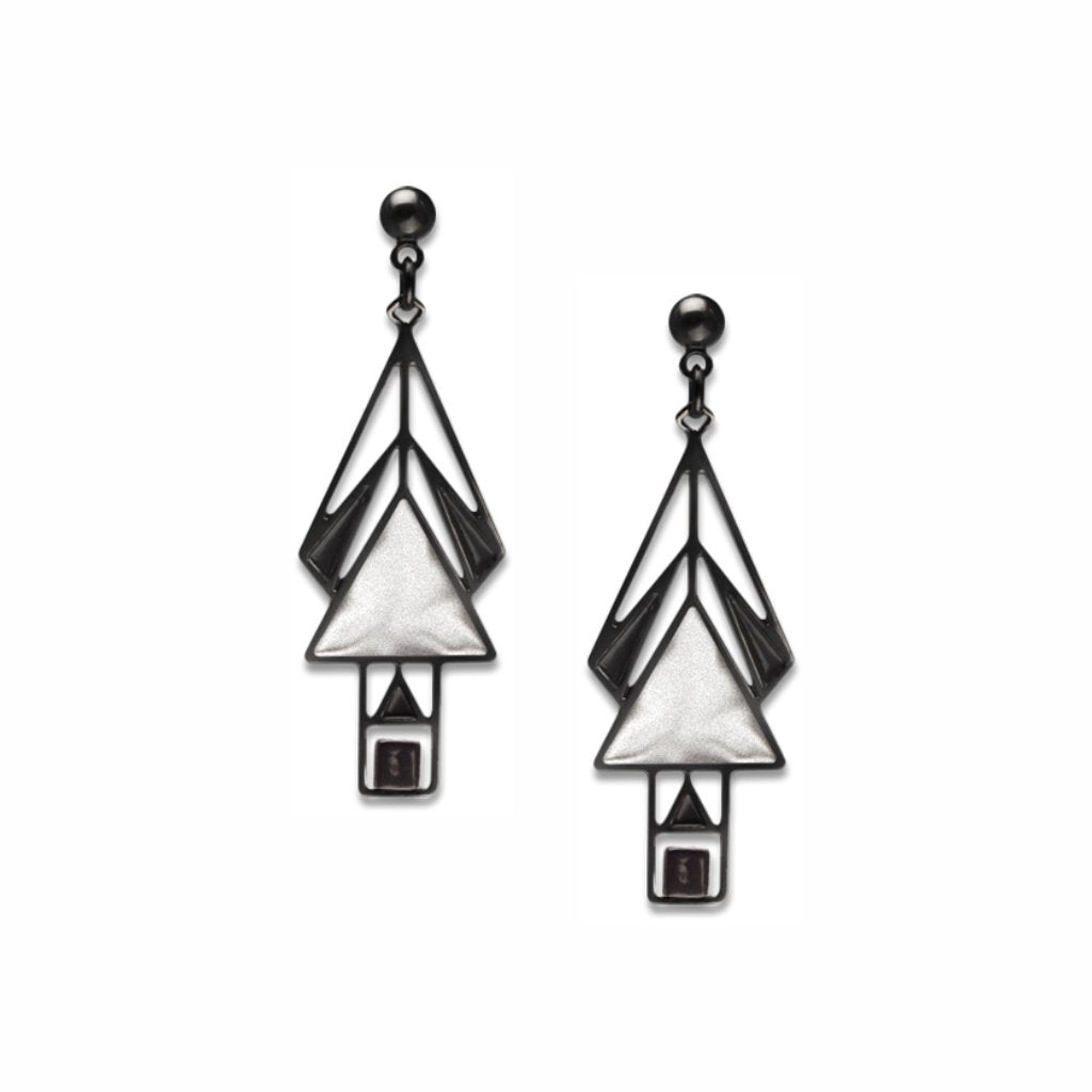 mahony-window-black-bead-chrome-enamel-black-accent-earrings-photo