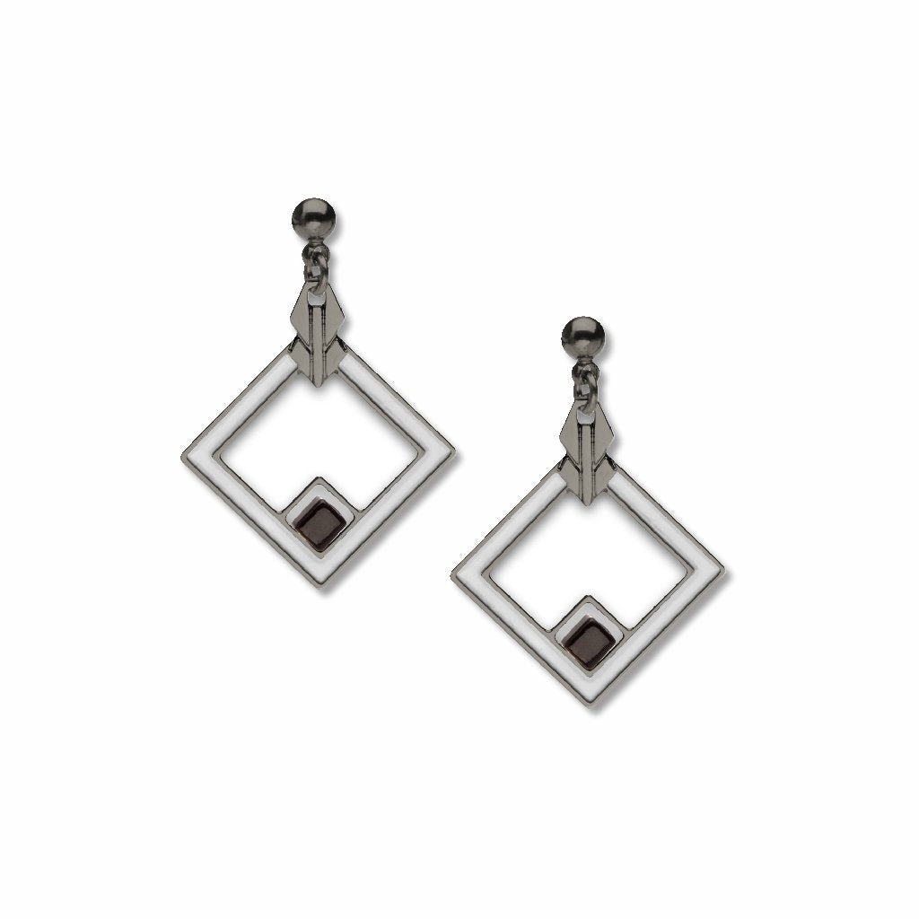 may-house-rug-detail-black-bead-chrome-enamel-earrings-photo