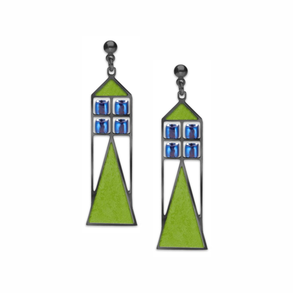 babson-window-sapphire-bead-spring-green-enamel-earrings-photo