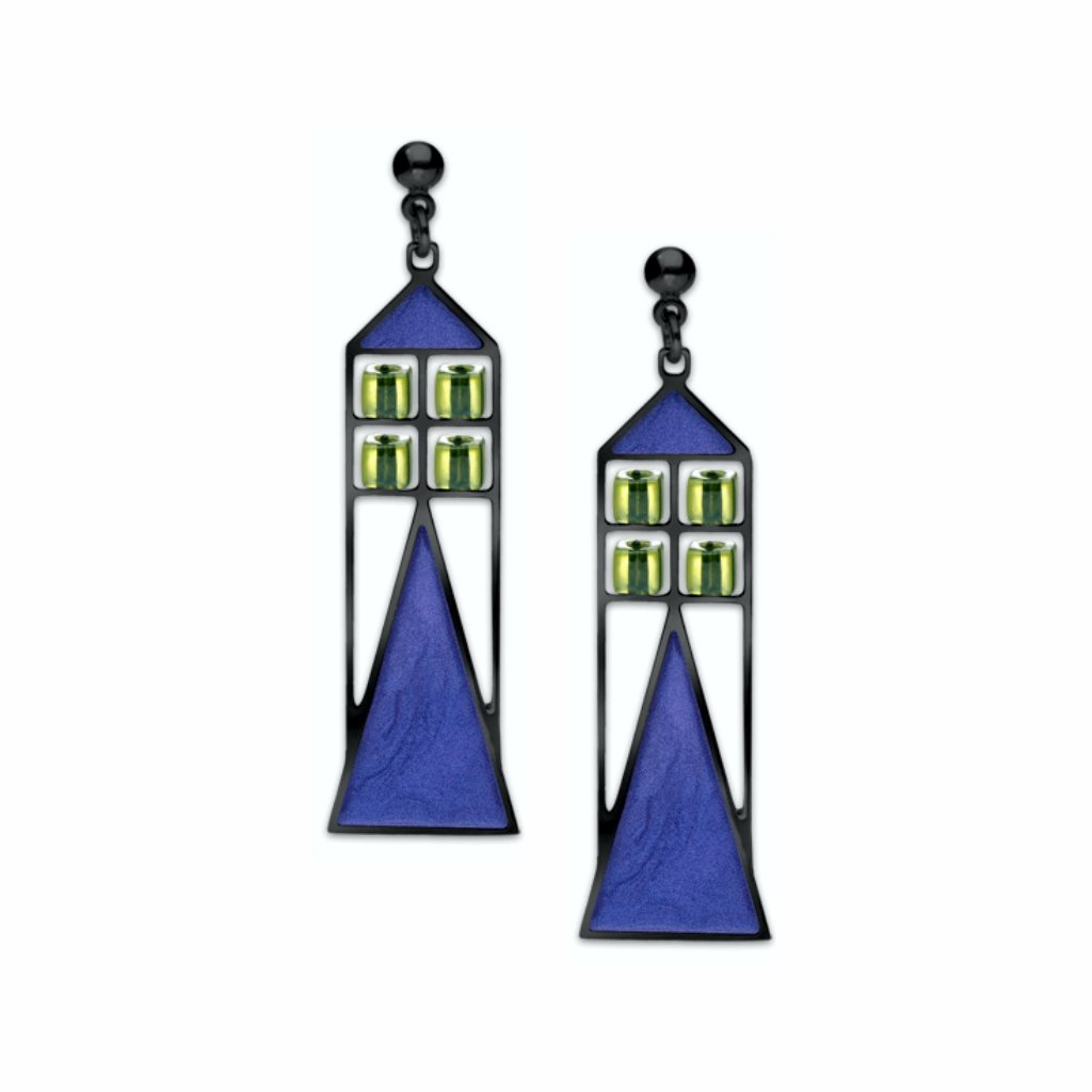 babson-window-pale-green-bead-twilight-blue-enamel-earrings-photo
