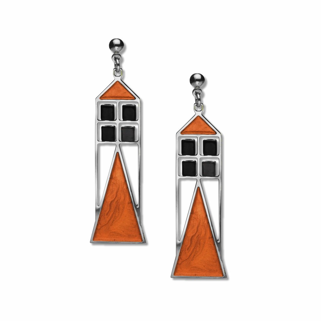 babson-window-black-bead,-rust-enamel-earrings-photo
