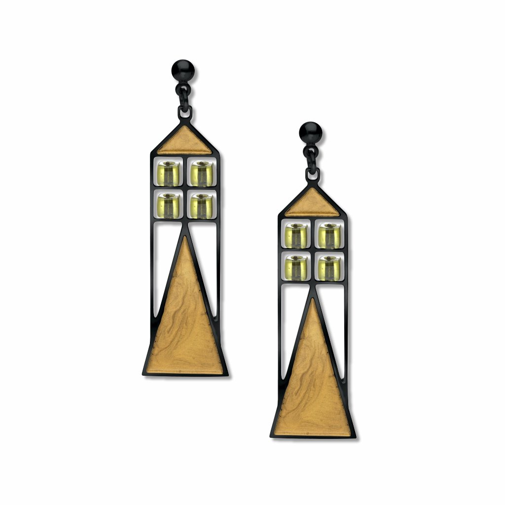babson-window-pale-green-bead-gold-enamel-earrings-photo