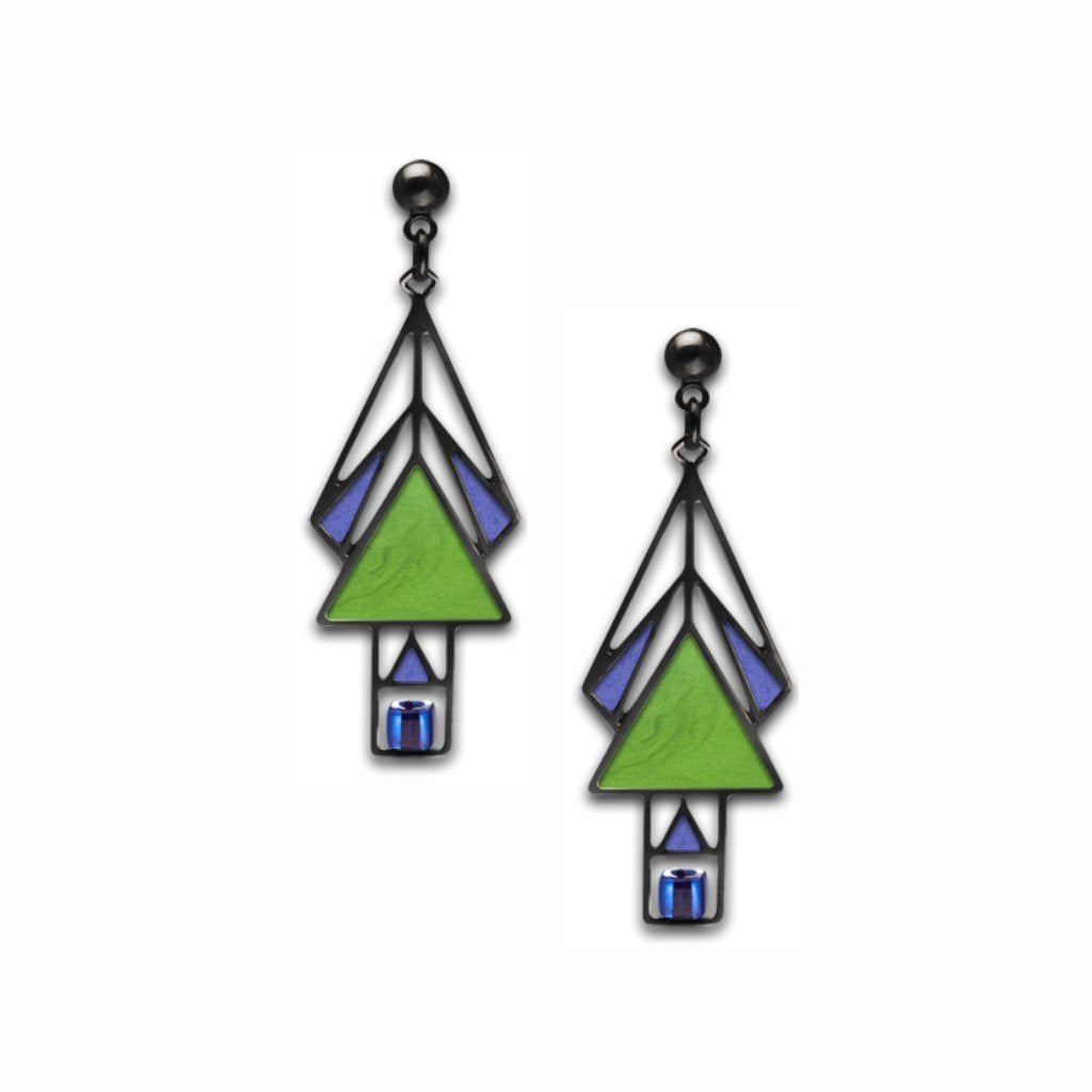mahony-window-sapphire-bead-spring-green-enamel-royal-blue-accent-earrings-photo