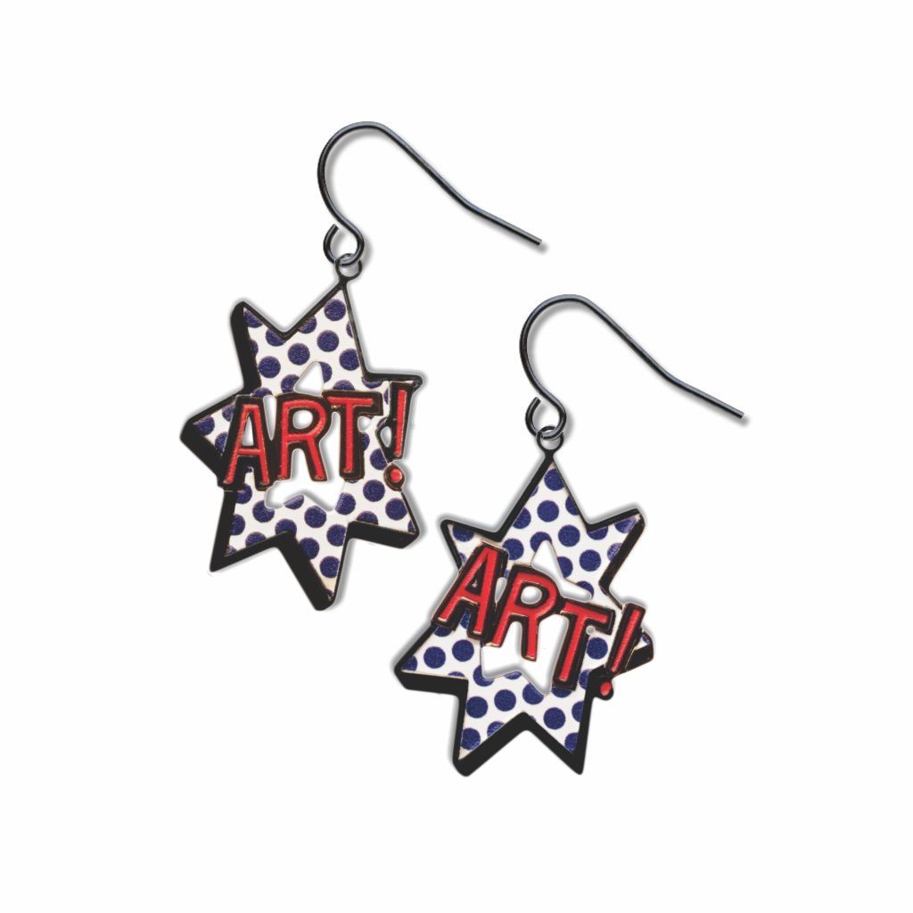 pop-art-art--red-accent-blue-dots-white-accent-earrings-photo