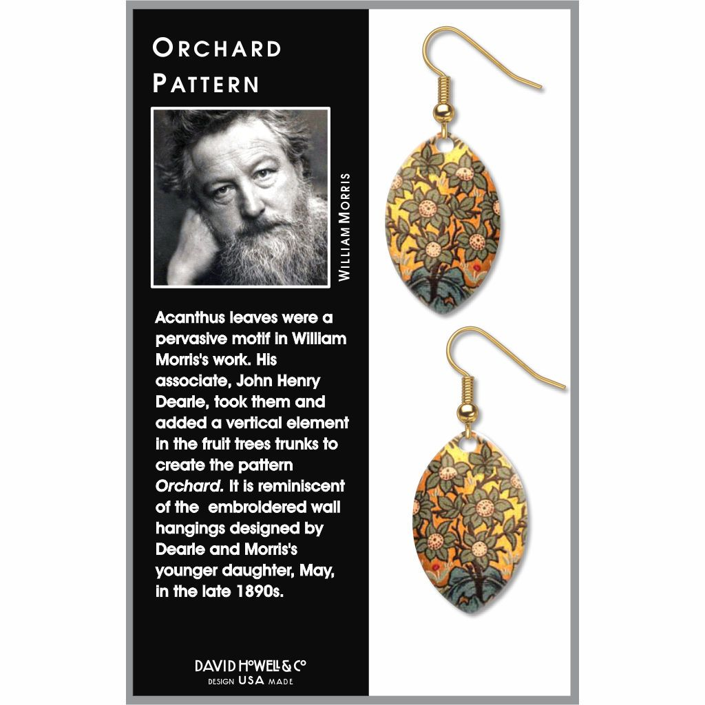 william-morris-orchard-pattern-giclee-print-faux-gilt-earrings-photo-2