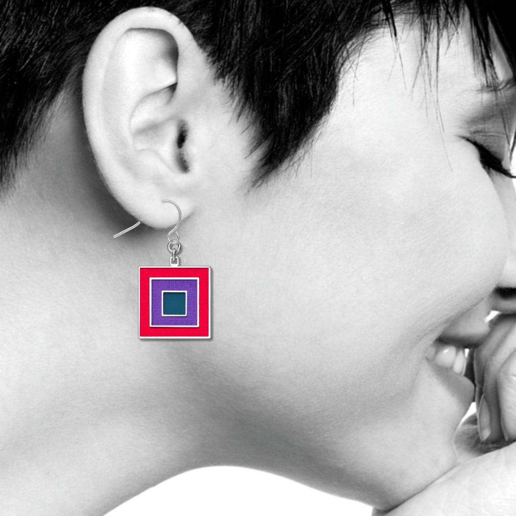 Bauhaus Color Theory Earrings, #3 Red/Violet/Blue