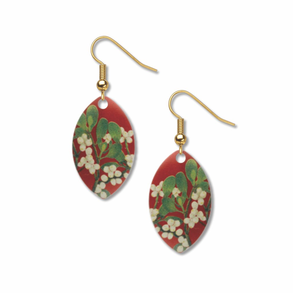 mistletoe-with-berries-giclee-print-faux-gilt-earrings-photo