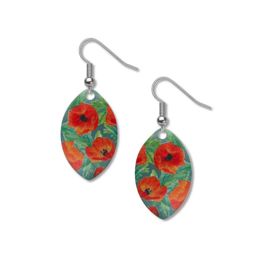 scarlet-globe-mallow-giclee-print-faux-gilt-earrings-photo