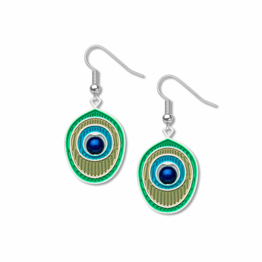peacock-feather-royal-blue-bead--turquoise-accent-tan-accent-aqua-accent-earrings-photo