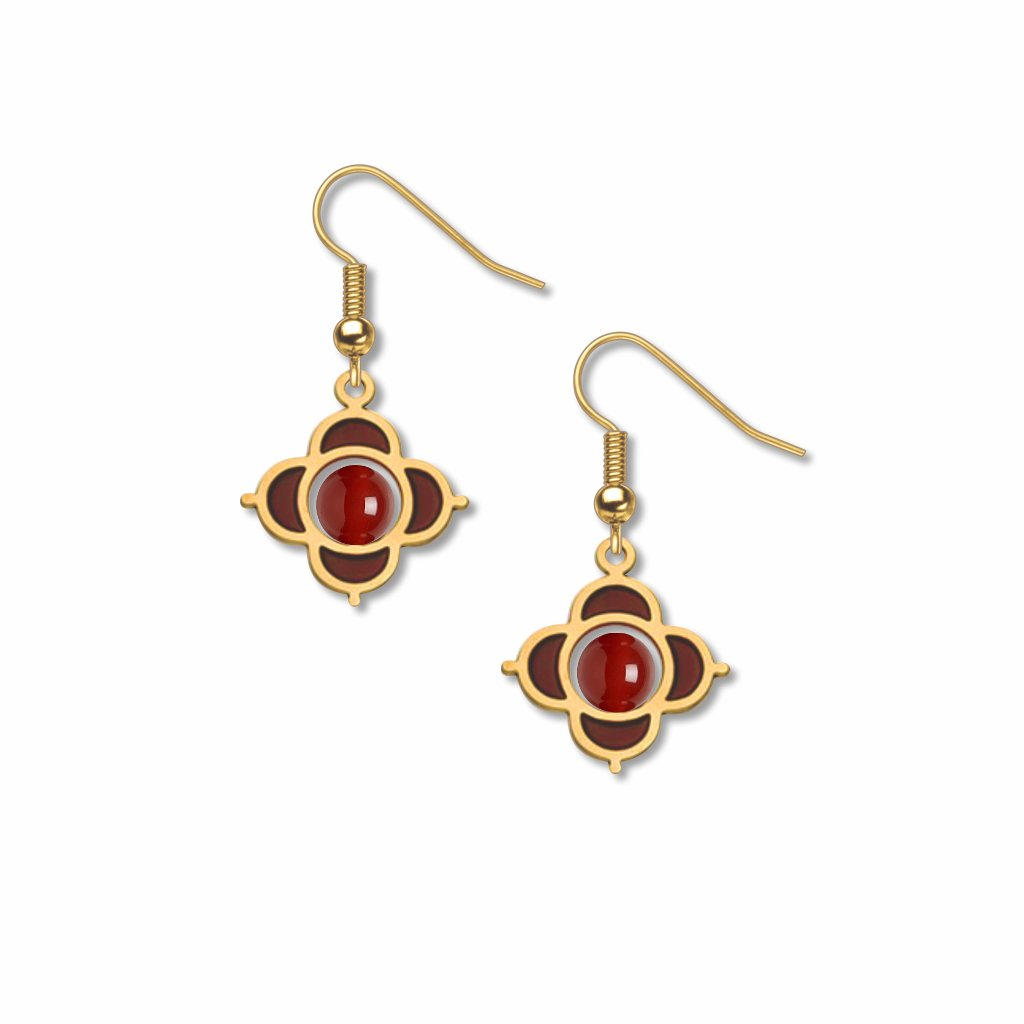 quatrefoil-mount-garnet-bead-garnet-accent-earrings-photo