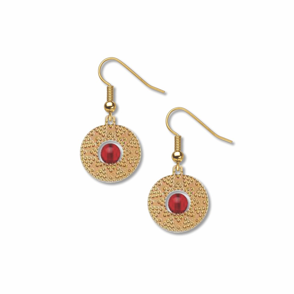 sun-disk-garnet-bead-giclee-print-earrings-photo