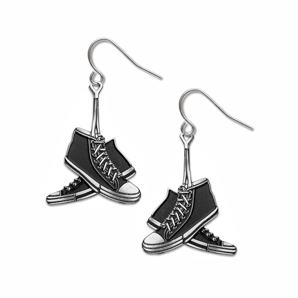sneakers-black-accent-earrings-photo