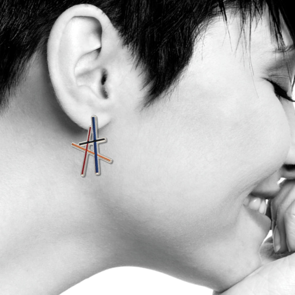 Resonating Lines Abstract Earrings