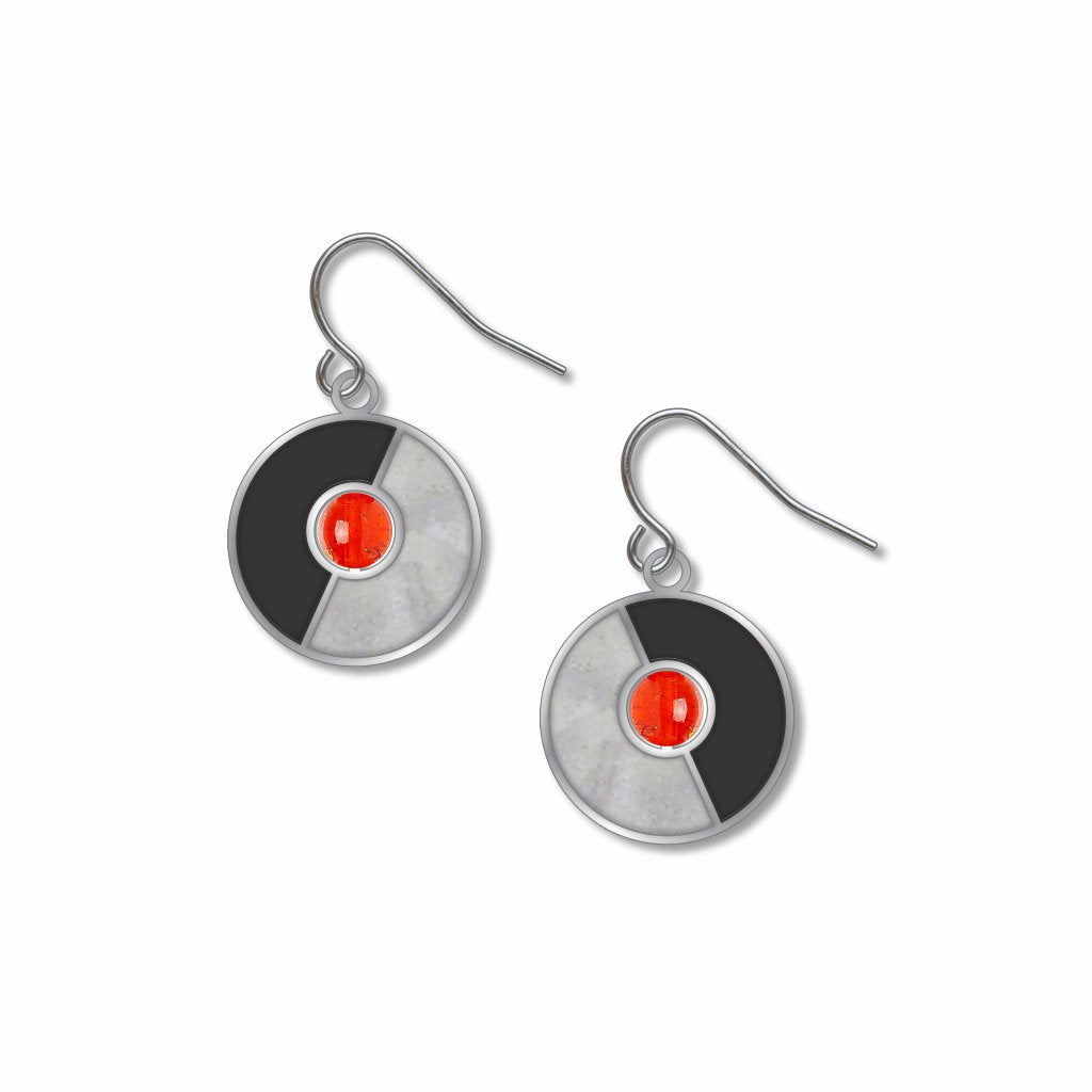 delaunay-sun-red-bead-chrome-enamel-black-enamel-earrings-photo