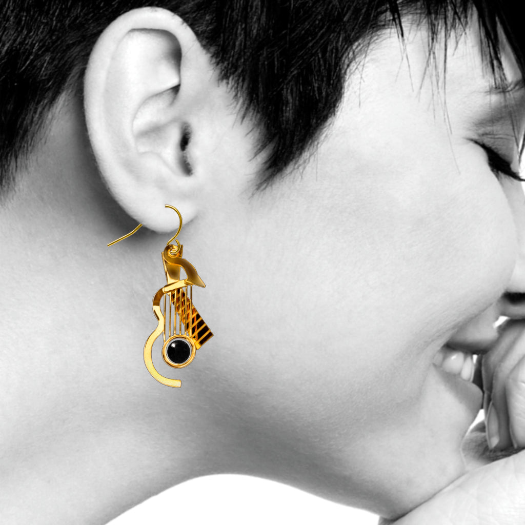 Cubist Guitar Gold Earrings, Black Bead
