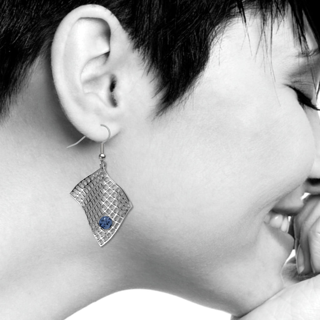Diamond Armchair Earrings, Sapphire