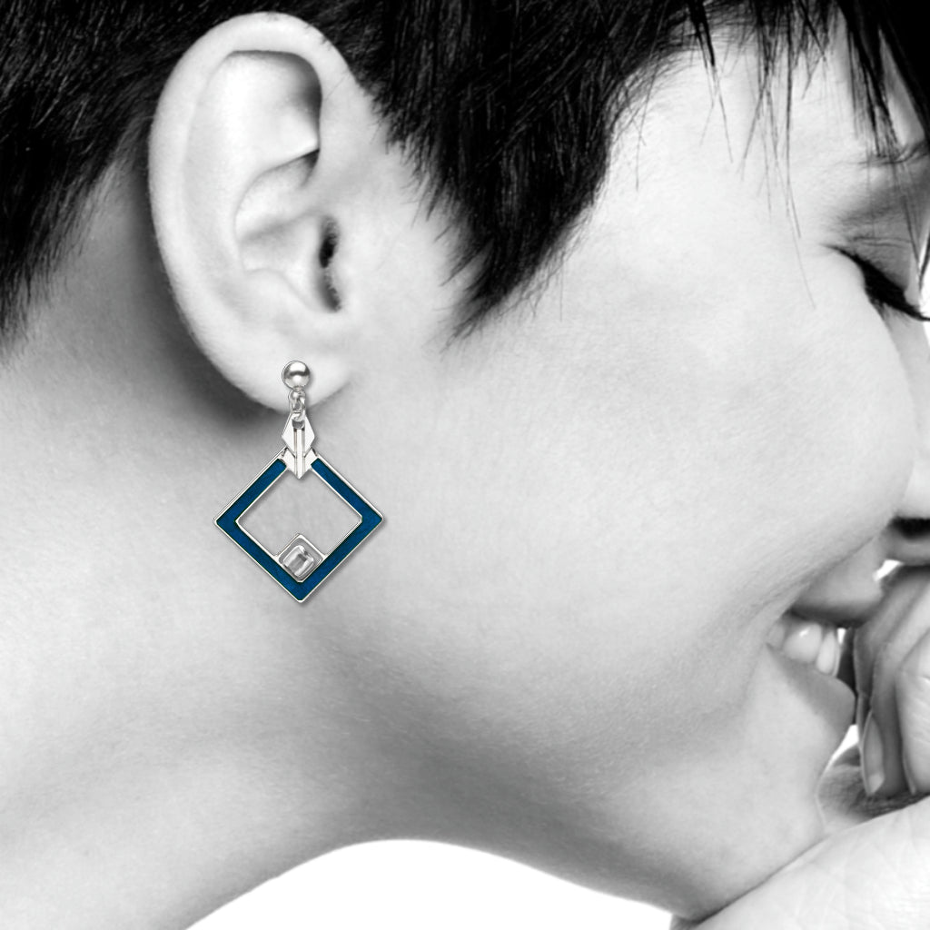 May House Design Earrings, Navy/Crystal