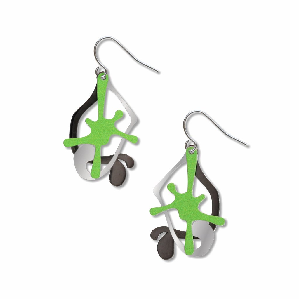 splatters-green,silver-&-black-earrings-photo