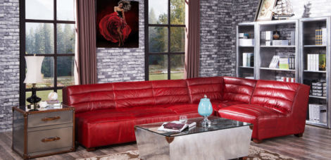 Armless Vintage Retro Distressed Leather Corner Sofa Group