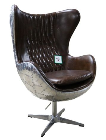 Aviator Aviation Swivel Aluminium Vintage Brown Distressed Leather Armchair