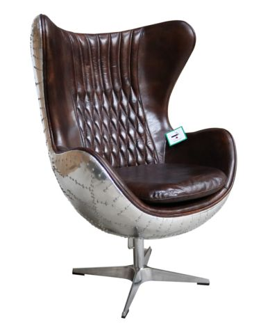Aviator Retro Swivel Egg Aluminium Distressed Vintage Brown Tobacco Leather Armchair