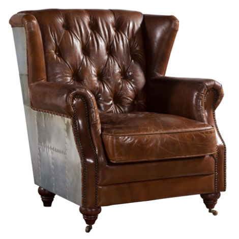 Aviator Distressed Leather High Back Chair Vintage Brown