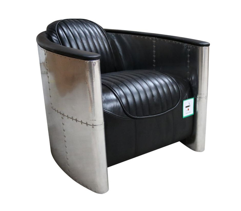 Aviator Pilot Vintage Distressed Black Leather Chair