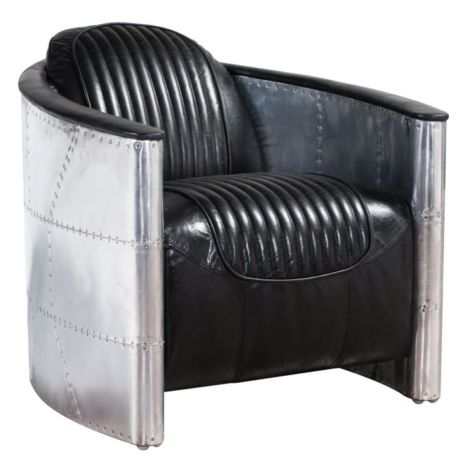 Aviator Pilot Vintage Distressed Leather Chair