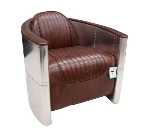 Aviator Pilot Vintage Distressed Brown Leather Chair