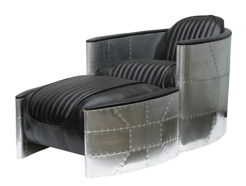 Aviator Pilot Vintage Distressed Black Leather Chair With Footstool