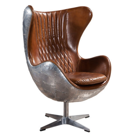 Aviator Retro Swivel Egg Aluminium Distressed Leather Armchair