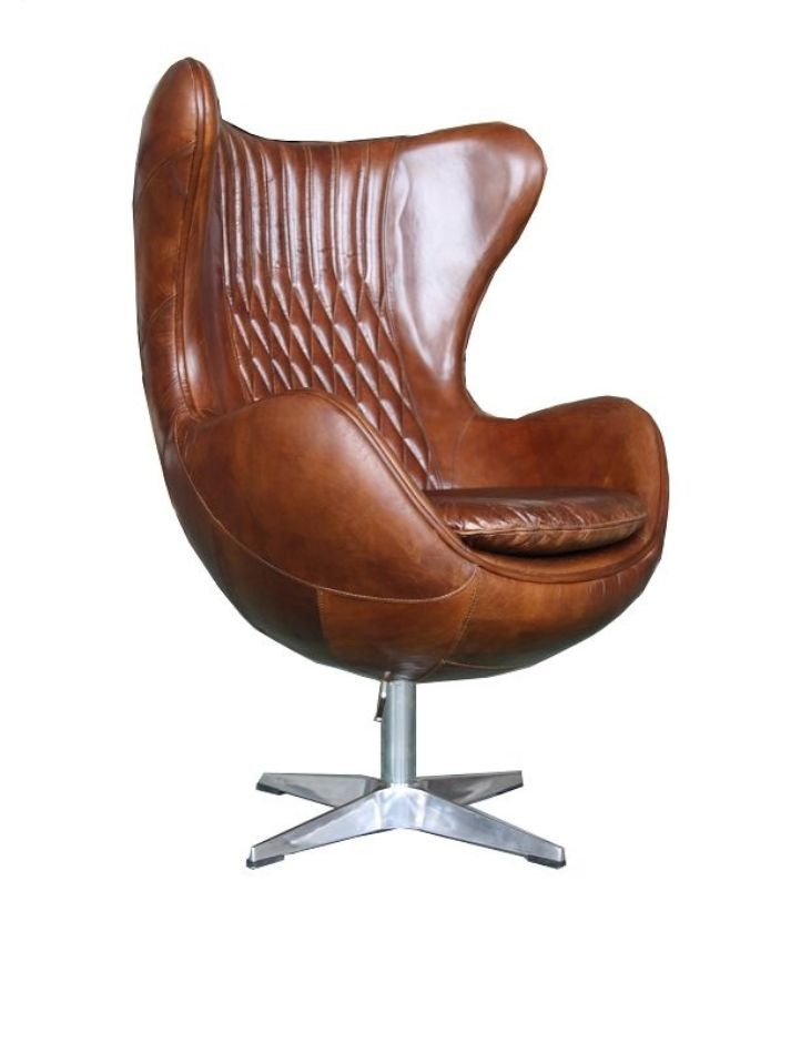 Aviator Retro Swivel Egg Vintage Distressed Leather Armchair