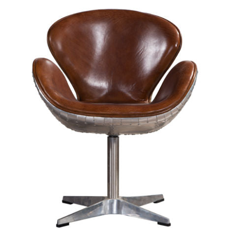 Aviator Vintage Distressed Leather Swan Chair