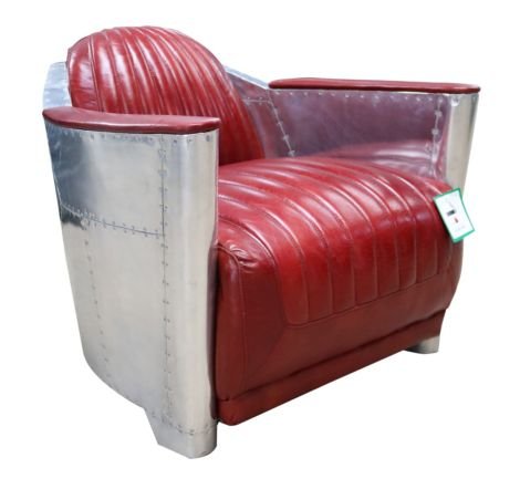 Aviator Vintage Rocket Tub Chair Distressed Leather Rouge Red