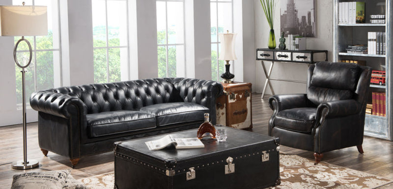 Acacia Chesterfield Vintage Distressed Leather Sofa Suite