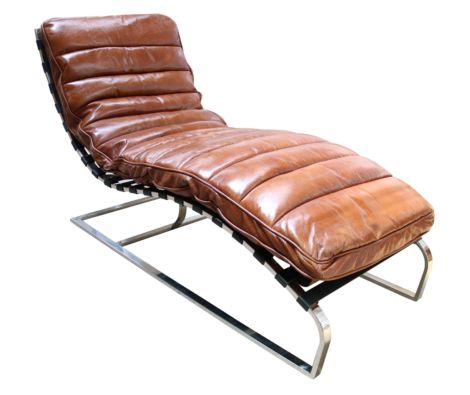 Bilbao Daybed Vintage Tan Distressed Leather Chaise Lounge