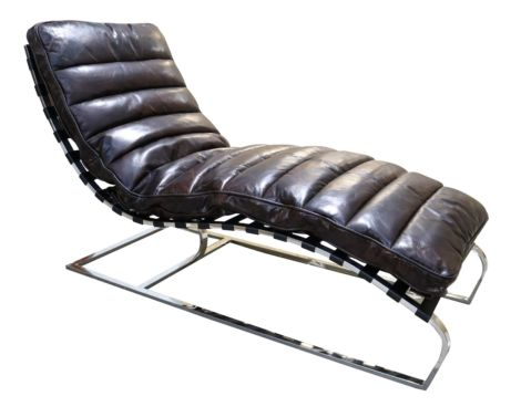 Bilbao Daybed Vintage Tobacco Brown Distressed Leather Chaise Lounge