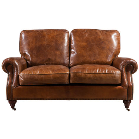 Chilton Vintage Distressed Leather 2 Seater Settee Sofa