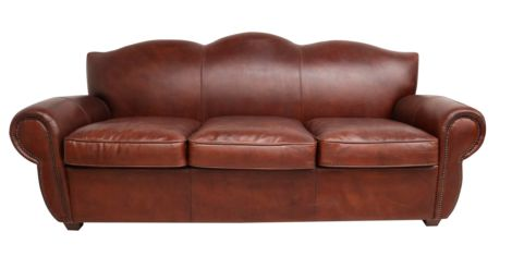 Adeline Vintage Brown Distressed Leather 3 Seater Sofa